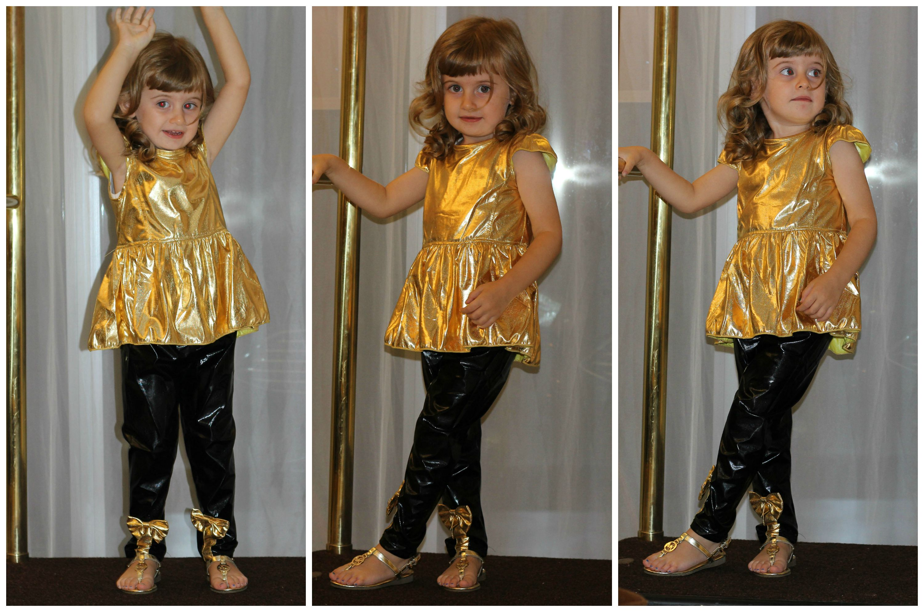 gaia masseroni gold and black outfit fashion kids abbigliamento bimba 3 anni