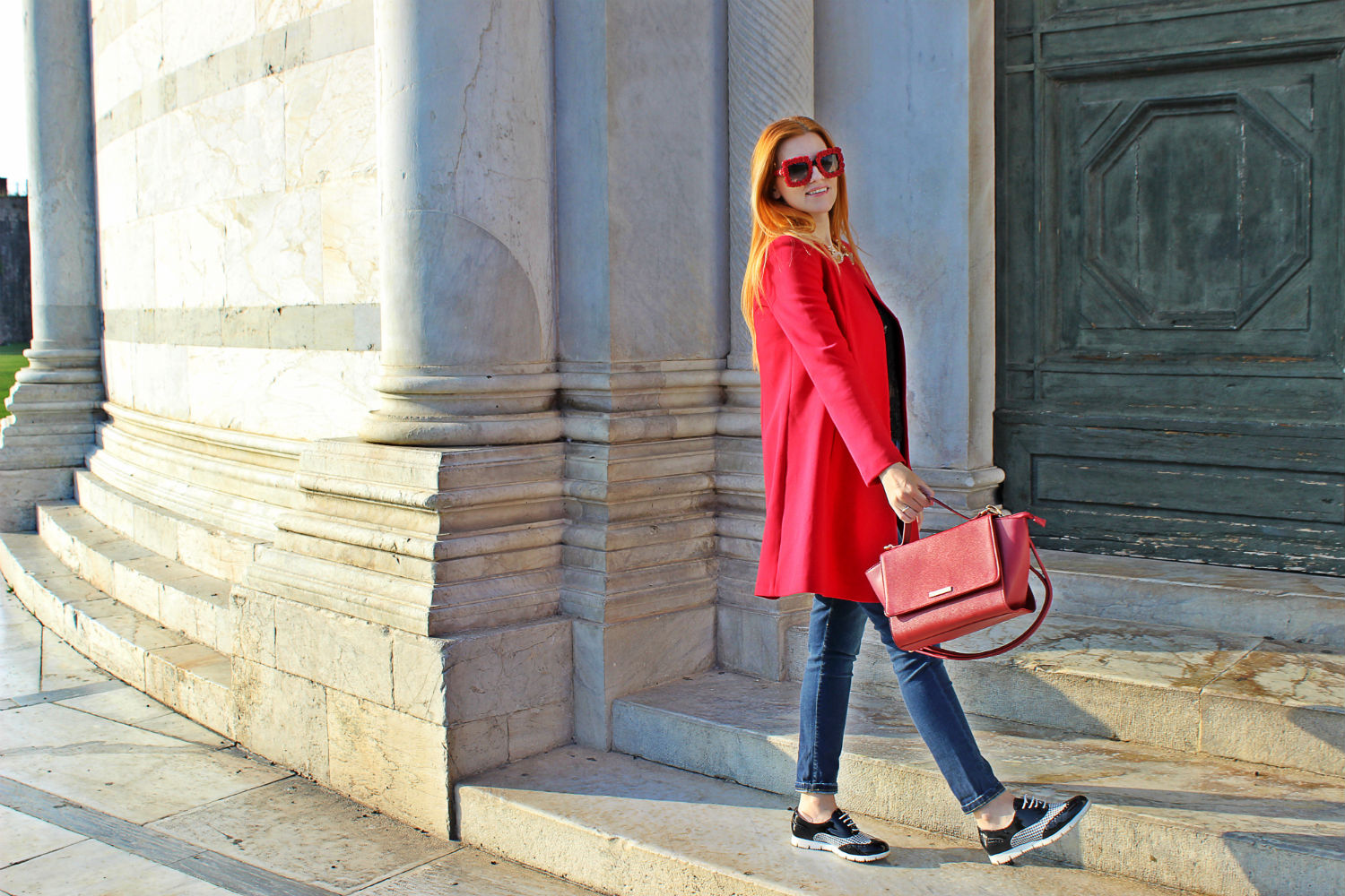 elisabetta bertolini pisa cappotto rosso ootd outfit autunno