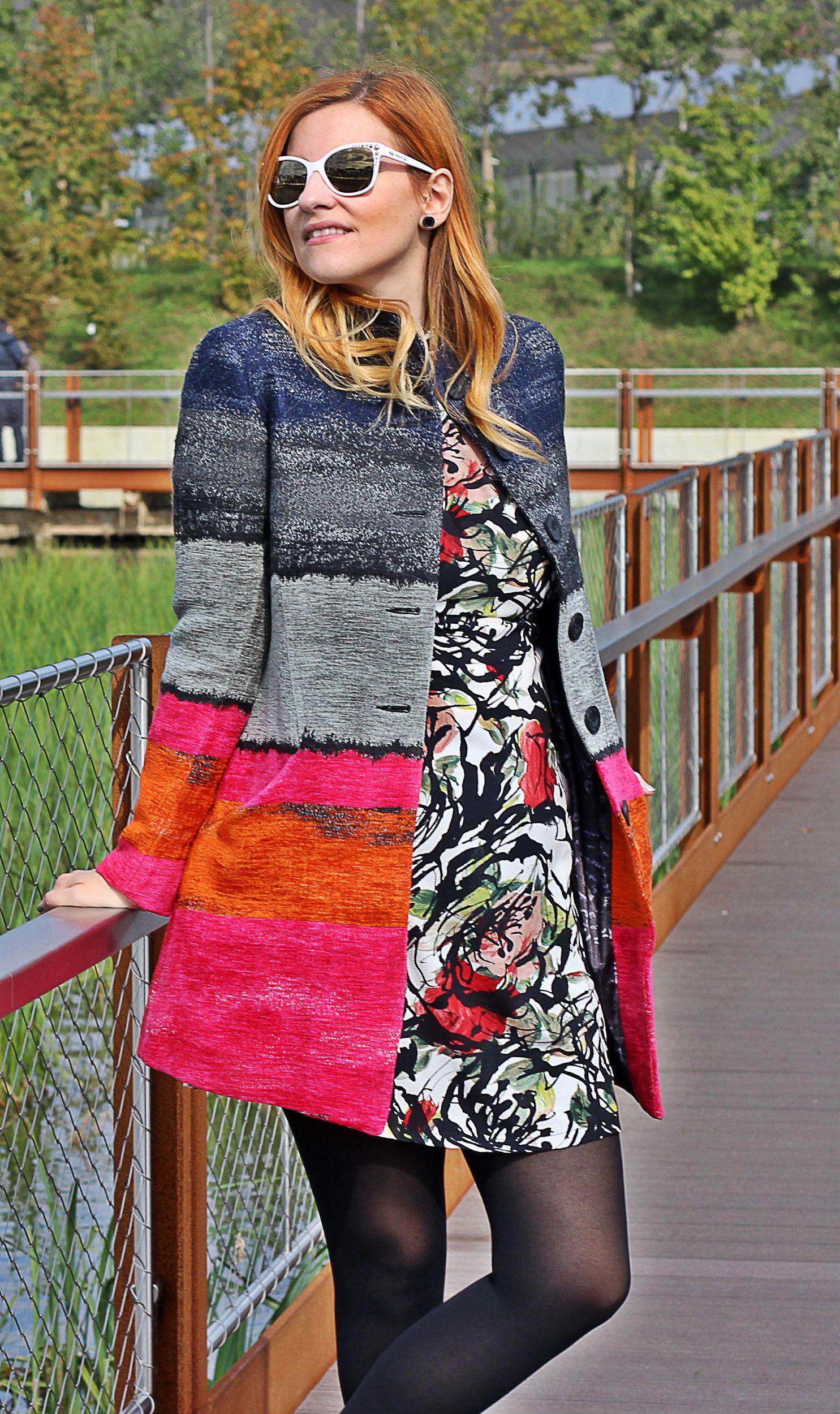 Elisabetta Bertolini - fashion blogger incinta ad expo - abito fiori Fruscio - Cappotto Desigual