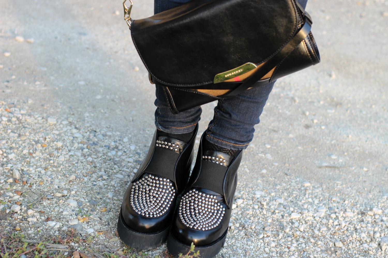 borsa burberry - platform shoes con dettaglio borchie sul davanti BHSHOES - made in italy