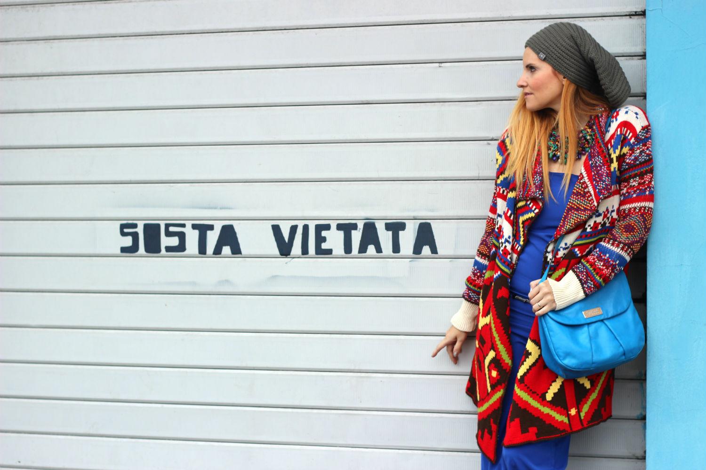 elisabetta bertolini - moda cozy - outfit - desigual fruscio