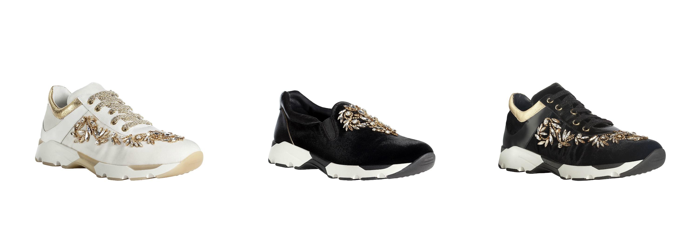 renécaovilla AUTUNNO INVERNO 2015 sneakers gioiello bianco nero