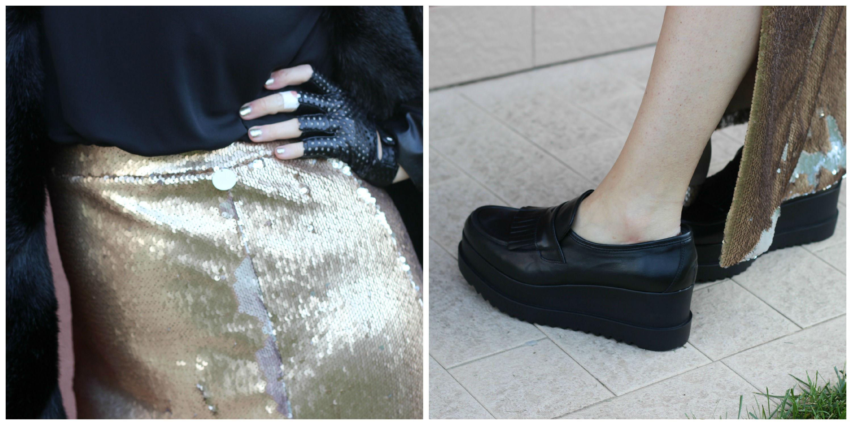 tuwe italia dettagli abito lungo paillettes - nilaenila scarpe made in italy mocassino con zeppa e frange