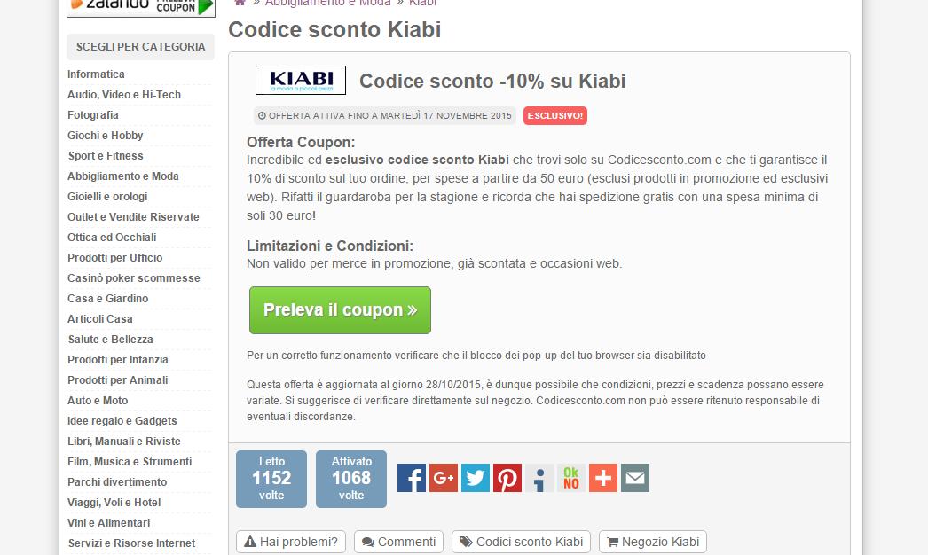 ESCLUSIVO CODICE SCONTO - KIABI