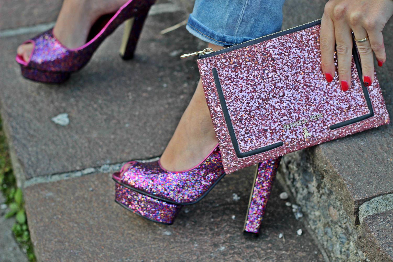 borsa pochette glitter rosa - cinderella metropolitana - new collection patrizia pepe