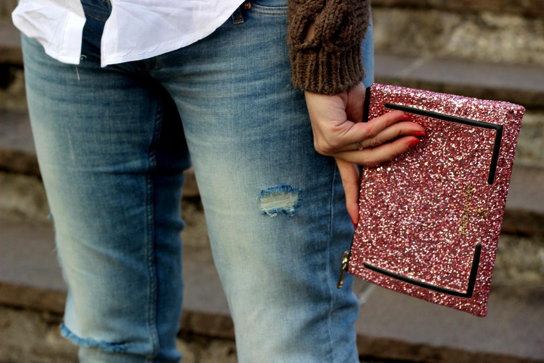 borsa pochette patrizia pepe glitter rosa
