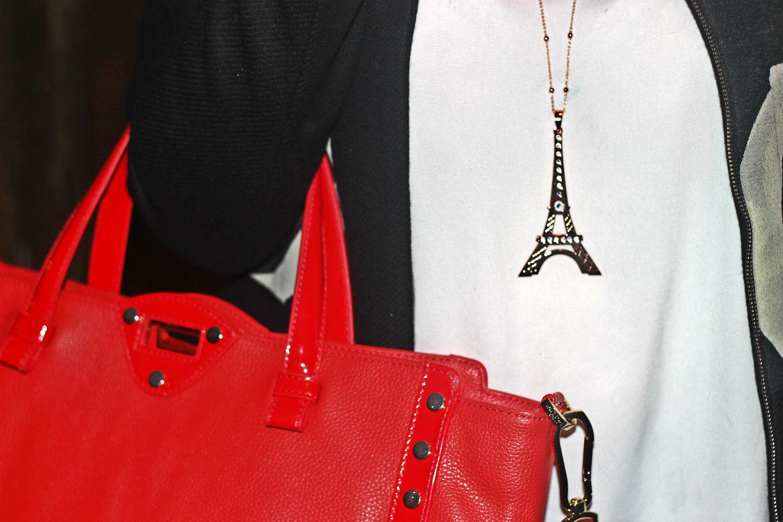 borsa rossa studio pollini - collana maxxi boccadamo gioielli tour eiffel