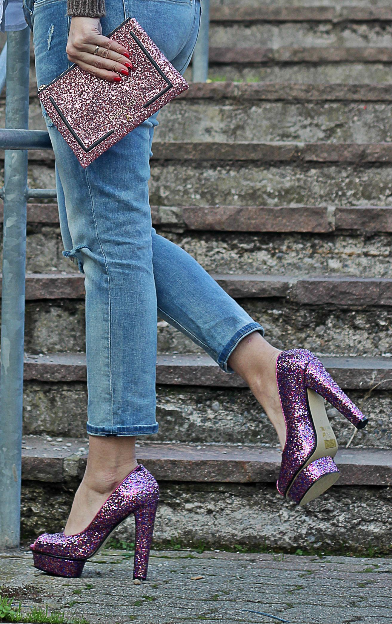 boyfriend jeans premaman and glitter details