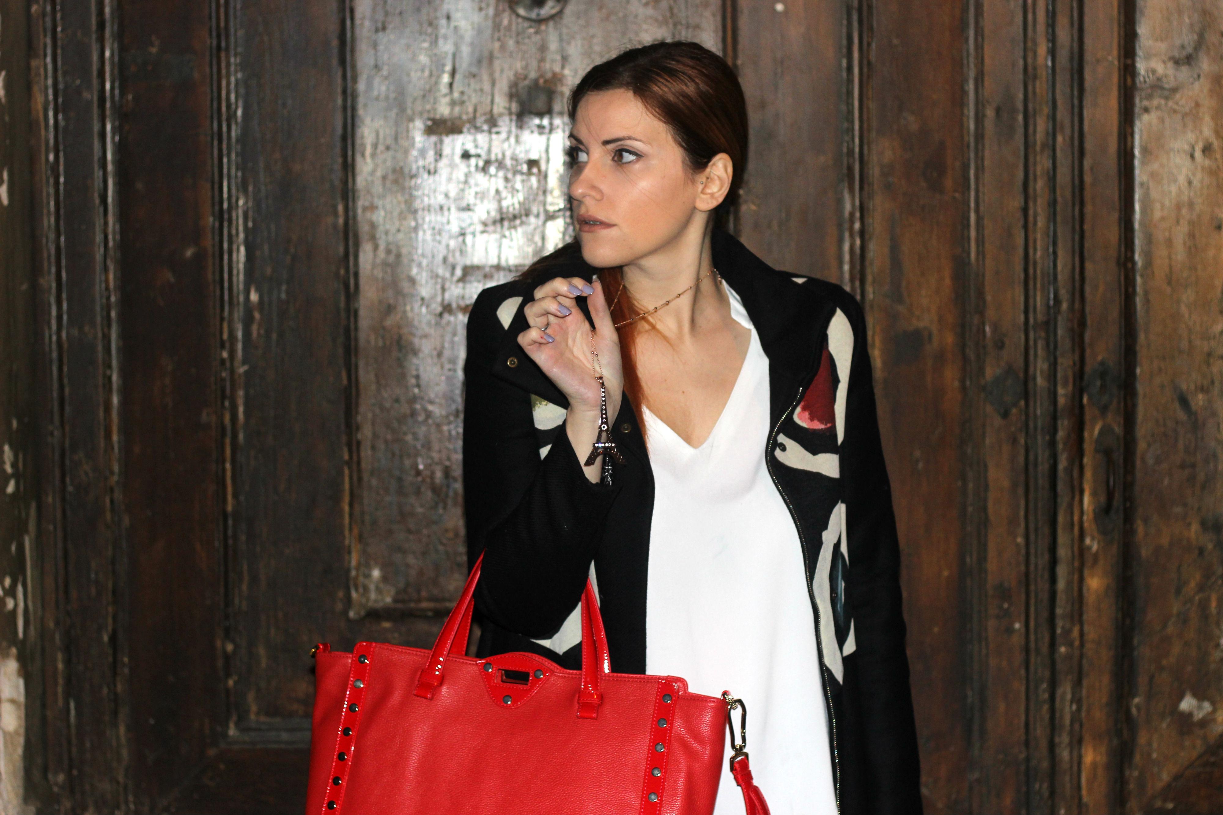 elisabetta bertolini outfit red details - soprabito desgual fall winter 2016