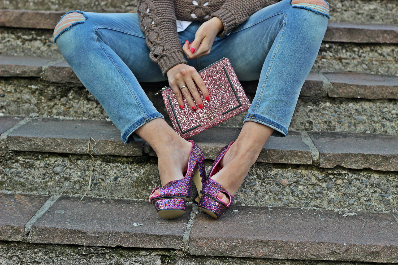 notsocinderella new collection glitter patrizia pepe - jeans strappati