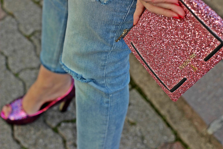pochette glitter patrizia pepe rosa 2016