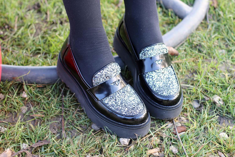 mocassini glitter con piattaforma di calzature vigevano