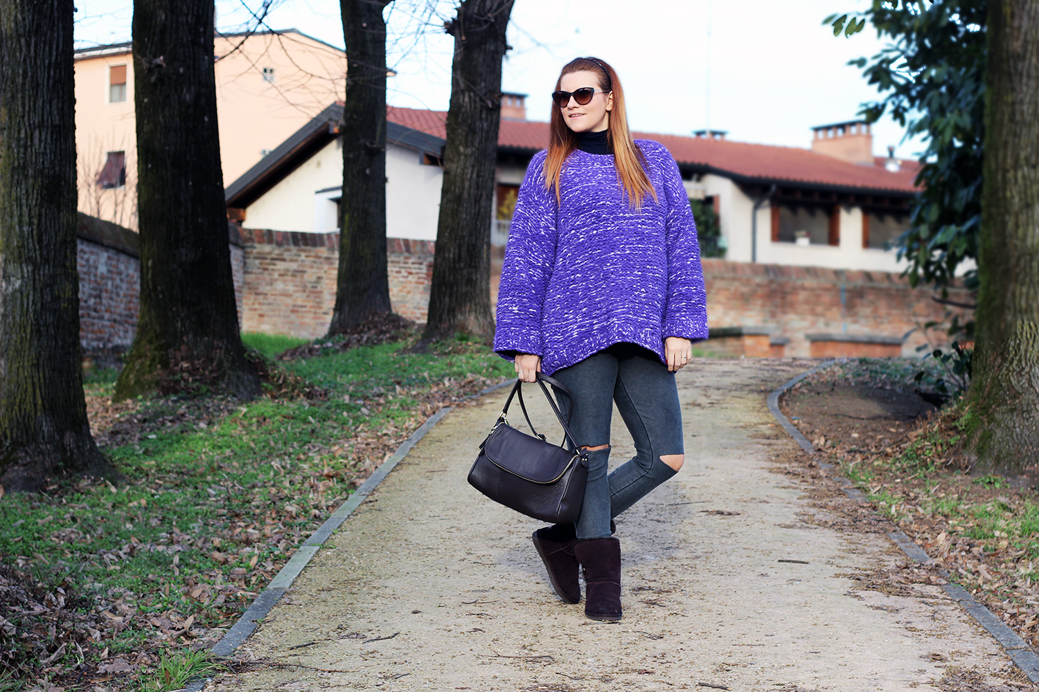 COZY PULLOVER H&M FASHION BLOGGER ITALIA WINTER LOOK CUT JEANS