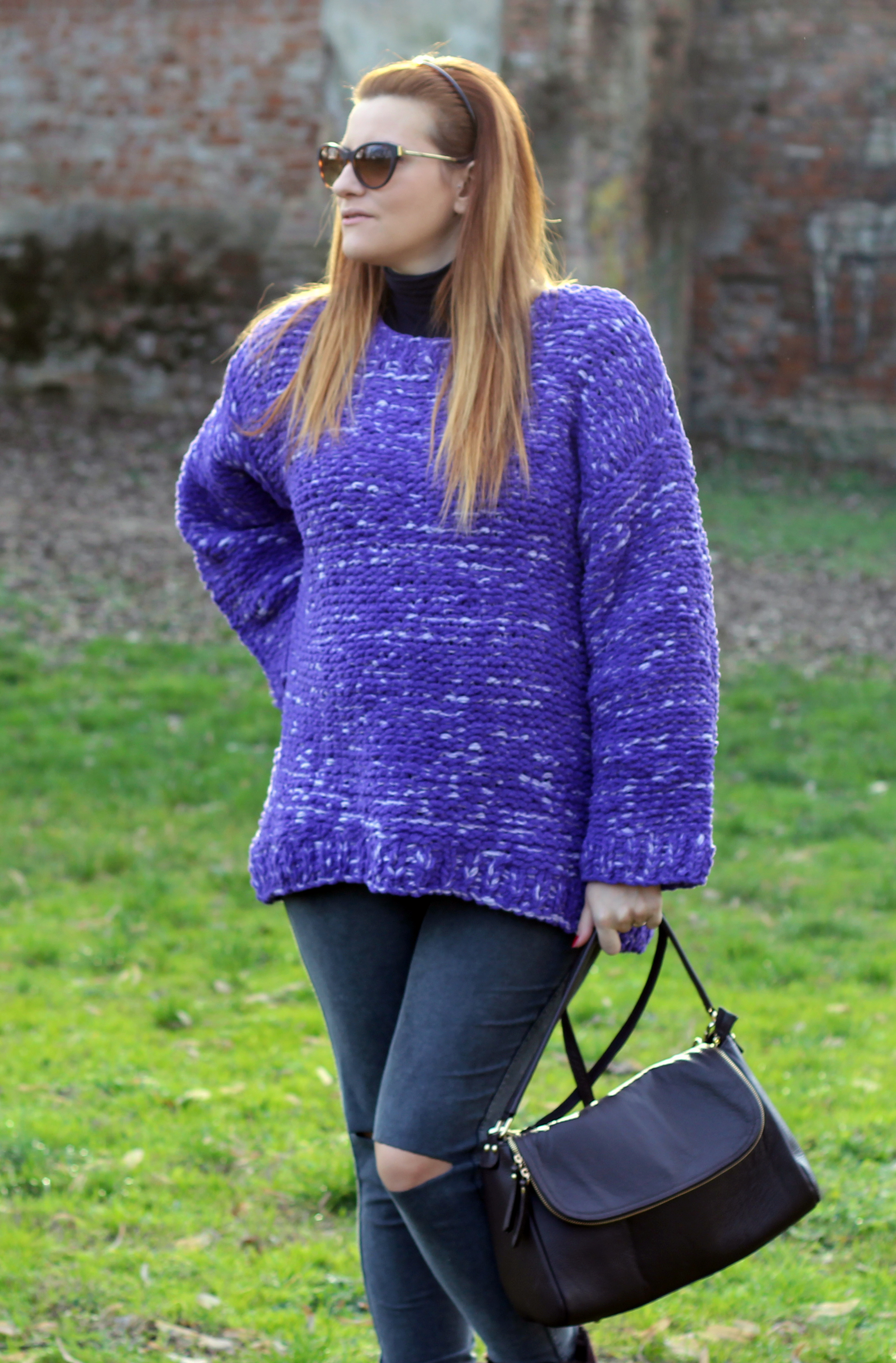 COZY PULLOVER VIOLA SALDI HM DOROTHY BAG MADE IN ITALY FASHION BLOG ITALIA
