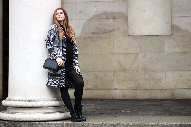 elisabetta bertolini fashion blogger winter look outfit gravidanza long cardigan desigual abito marianna ferrara