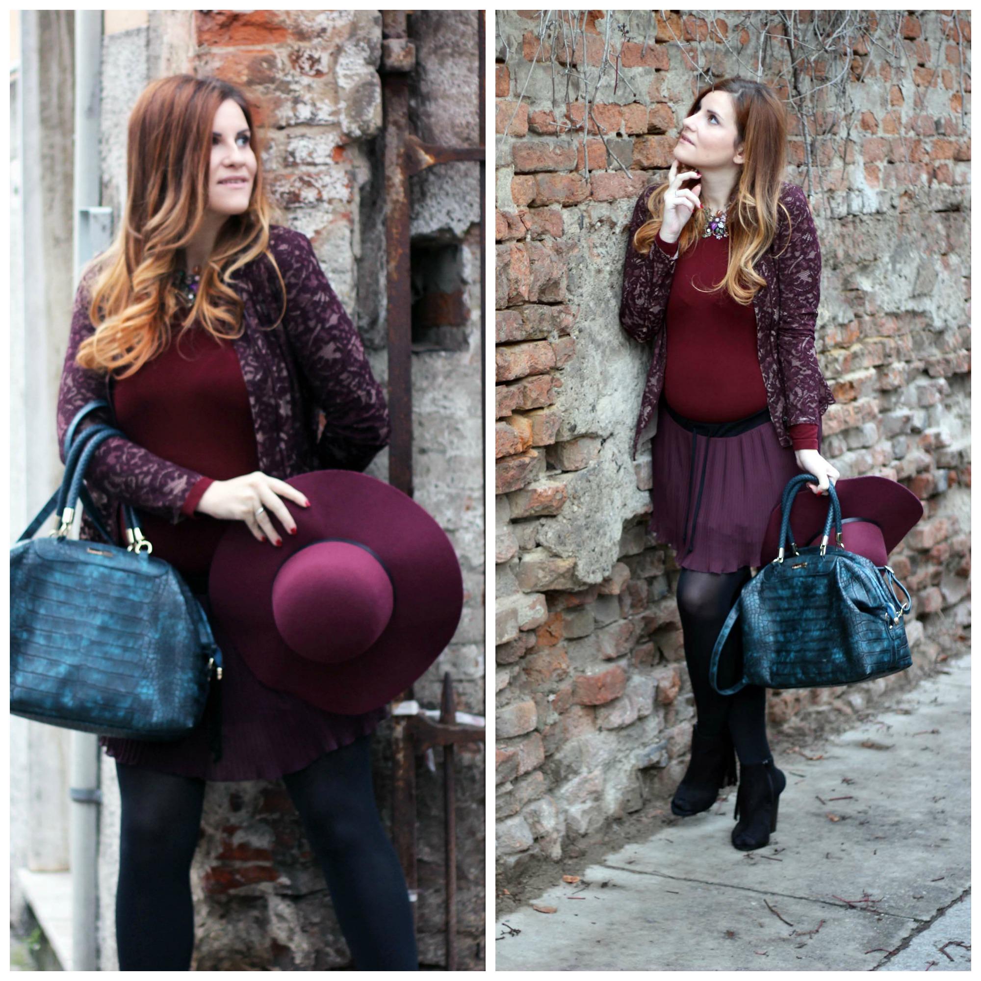 elisabetta bertolini outfit in marsala giacchino in pizzo oroblu borsa caleidos sandali invernali con frange zalando
