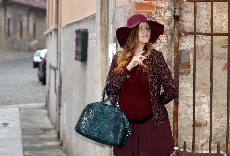 look marsala giacca in pizo oro blu borsa caleidos elisabetta bertolini fashion blog
