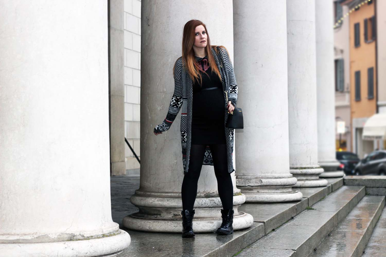 winter look tubino nero outfit gravidanza marianna ferrara fashion blogger italia elisabetta bertolini desigual