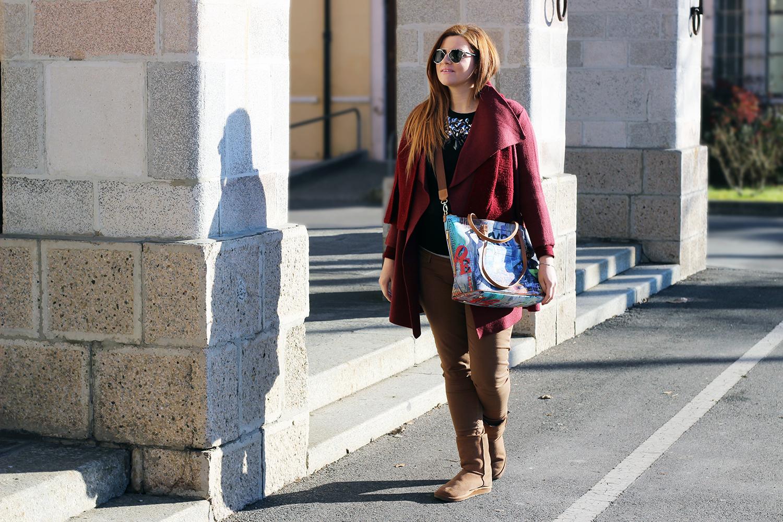 OUTFIT PREMAMAN ELISABETTA BERTOLINI CAPPOTTO BORDEAUX MISS COQUINES OUTFIT GRAVIDANZA BORSA WHYNOT