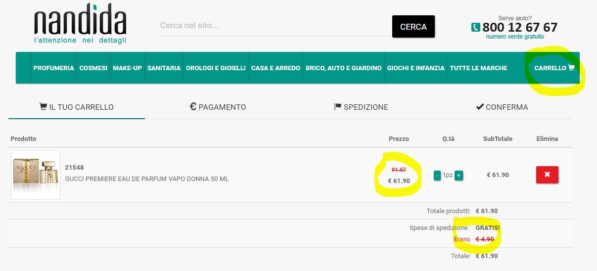 NANDIDA CARRELLO SPEDIZIONE GRATIS PROFUMI GUCCI PREMIERE PROFUMO DONNA