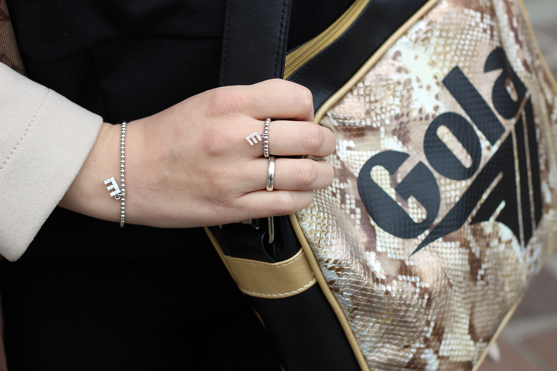 borsa stampa in rettile gola bracciale ed anello con iniziali personalizzate 4youargenti 4youjewels