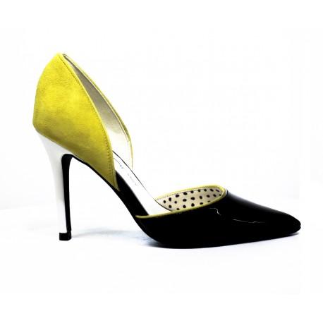 fornarina-decoltè-a-pois-nero-e-bianco-e-giallo-youngshoes salerno