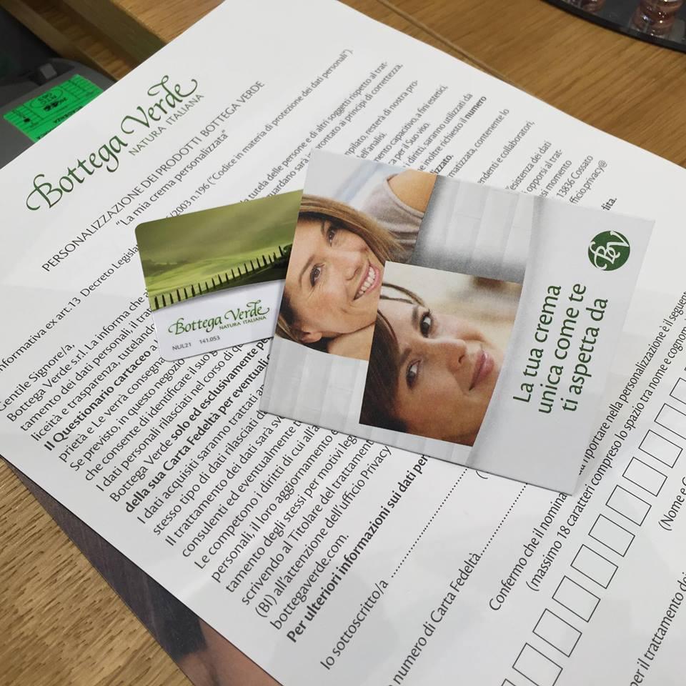 tessera fedeltà bottega verde