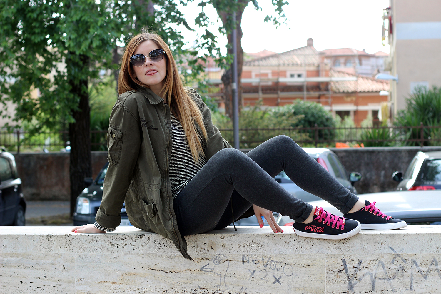 ELISABETTA BERTOLINI FASHION BLOGGER LOOK MILITARY STYLE COCACOLA SHOES GARABATELLA ROMA