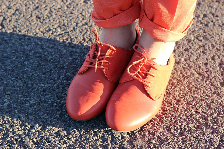 scarpe donna stringate arancioni promod