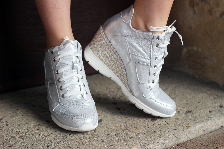 angelo bervicato sneaker su zeppa silver