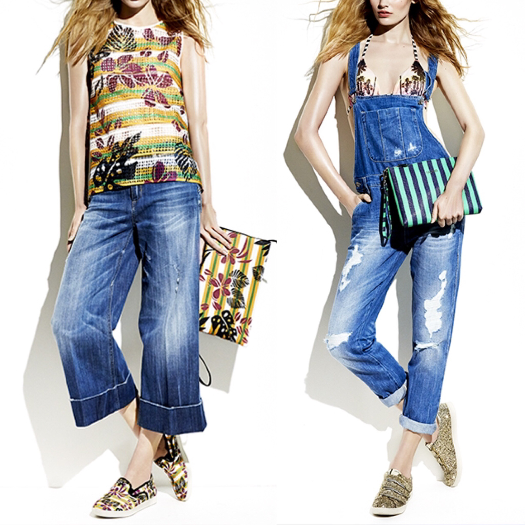 Look primavera estate moda donna tropical denim Liujo