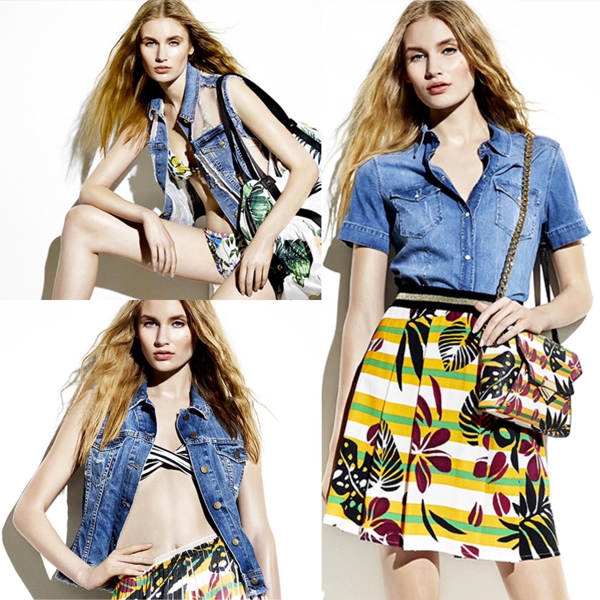 Moda donna tropical denim outfit