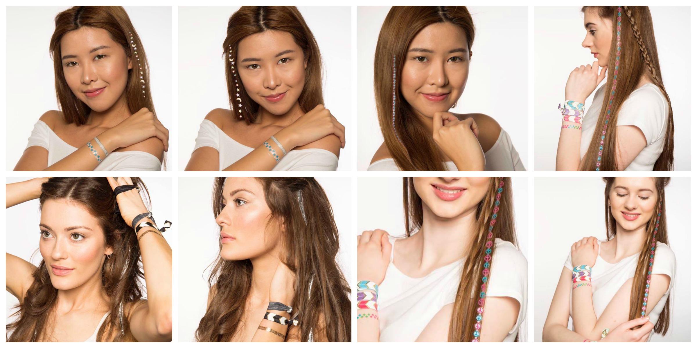 linee hair tattoos acquistabili dal sito di maddyloo prodotti made in usa accessori per capelli boho