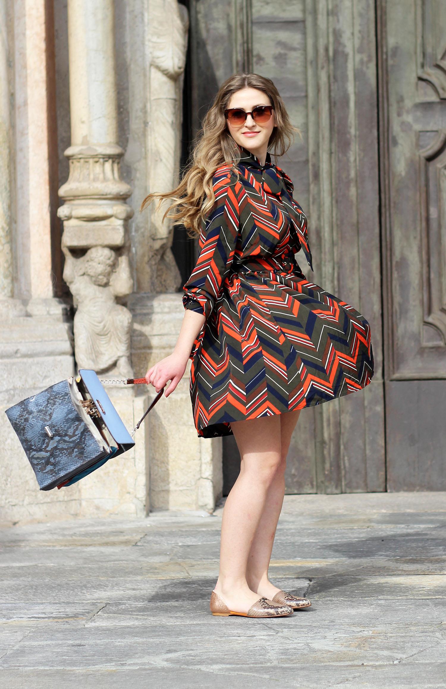 ana tiganasu fashion blogger italiane abito a righe outfit primavera estate 2016 borsa e scarpe ebarrito