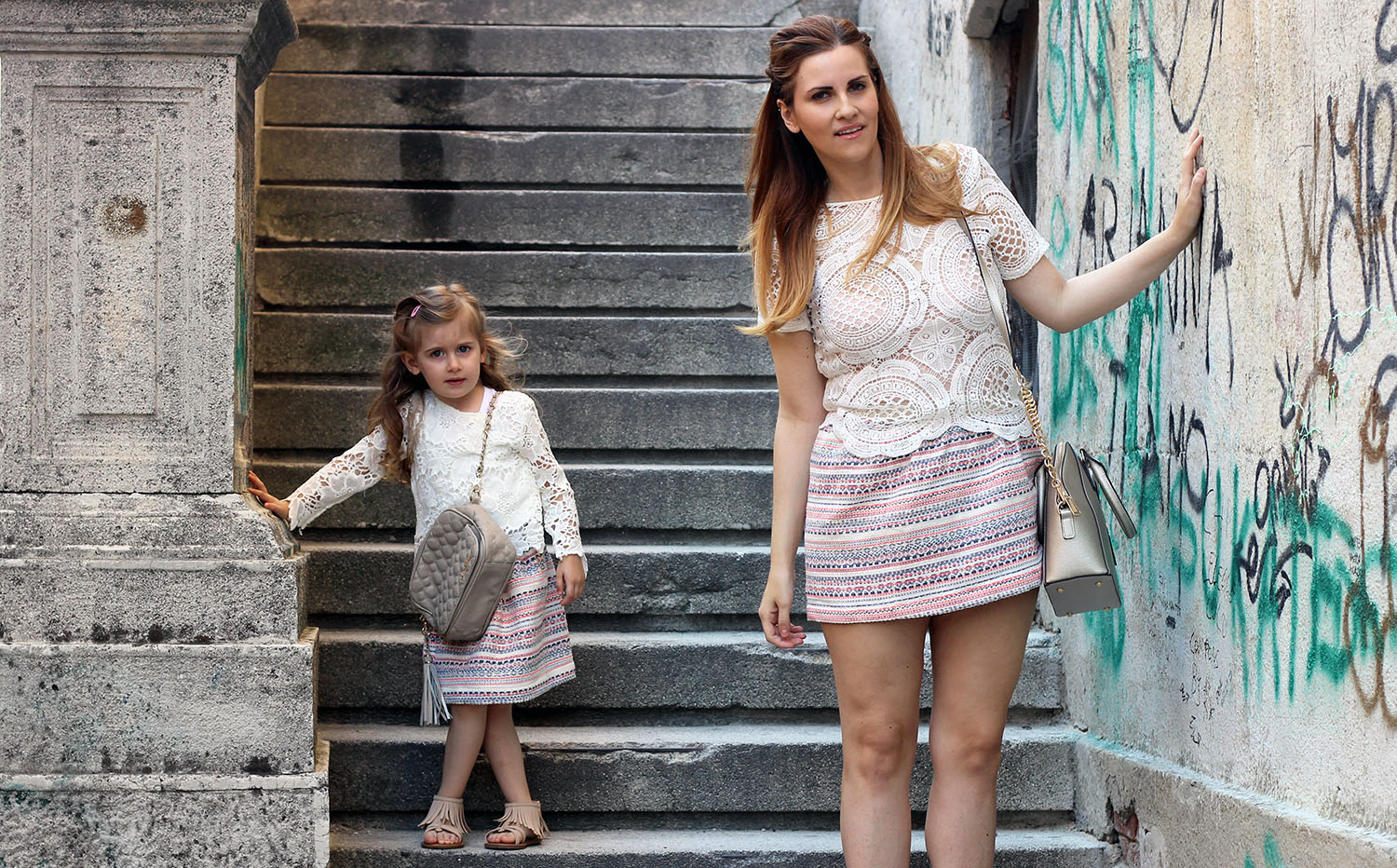 gonna jaquard family look fashion kids look mamma e figlia outfit estate