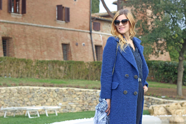 cappotto gioiello doppiopetto blu