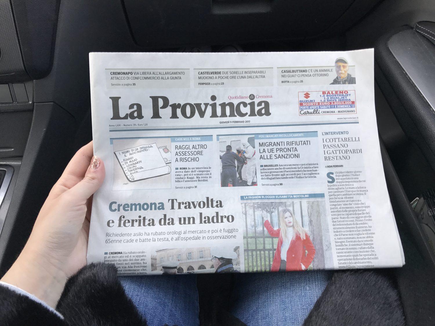 Elisabetta bertolini prima pagina LA PROVINCIA DI CREMONA