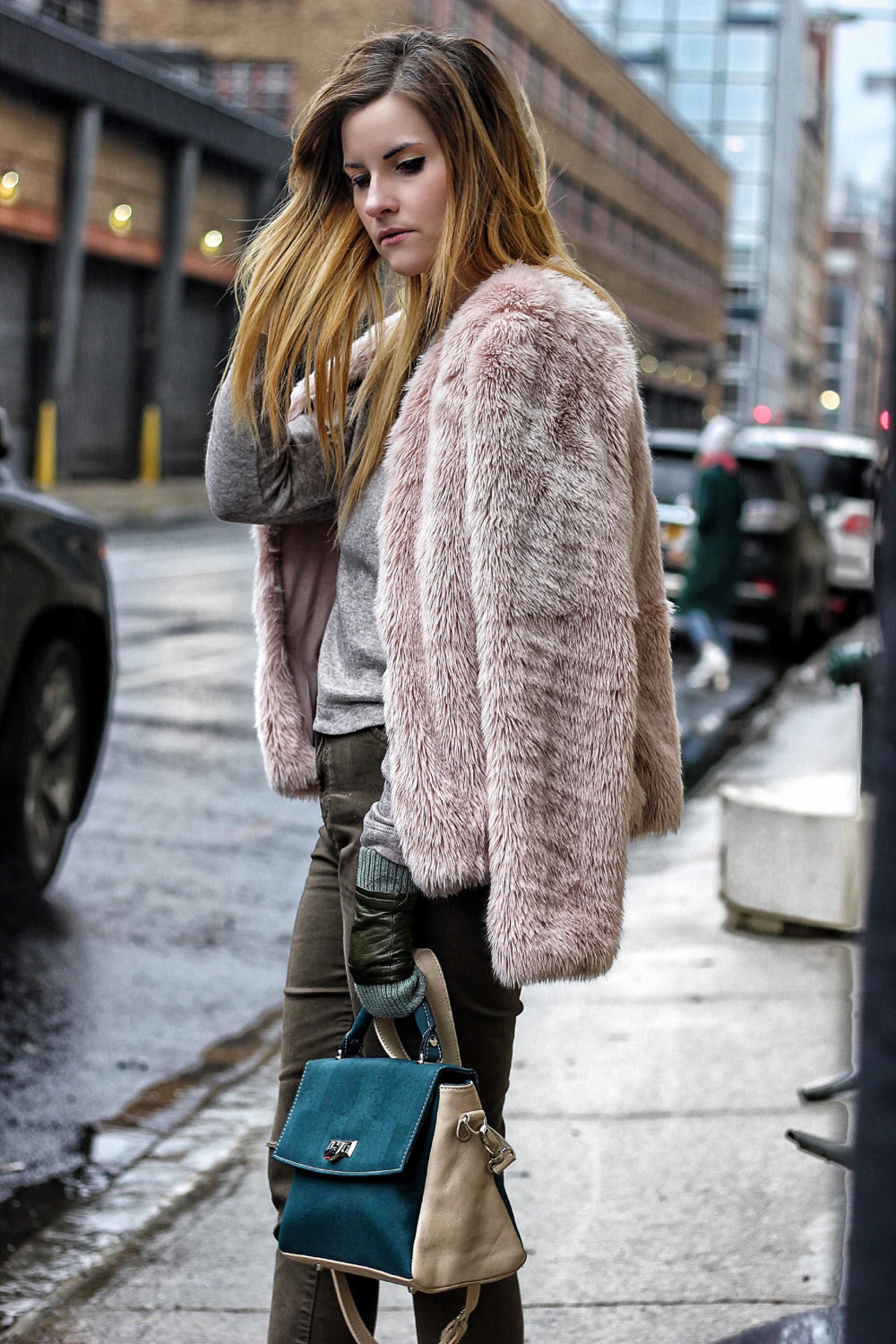 pink faux fur look street style nyfw