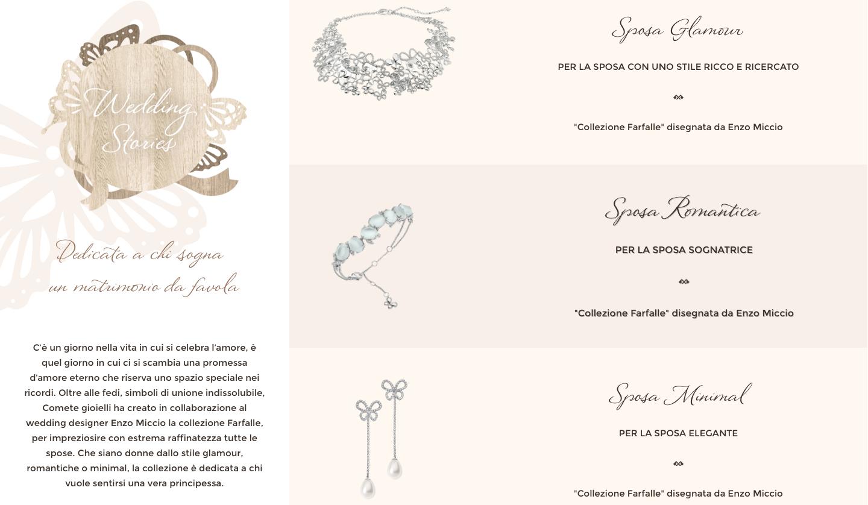 Screen dal sito ufficiale Comete Gioielli
