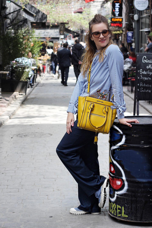 outfit moda pantalone palazzo denim fashion blogger italiane