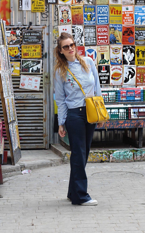 denim pantaloni palazzo Omero Collant easywear