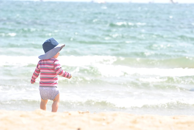 Child Blue Beach Baby Water Kid Sea Landscape