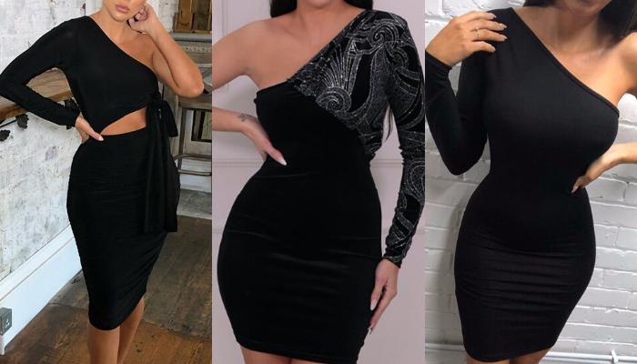 black_one_shoulder_dress_femme_luxe